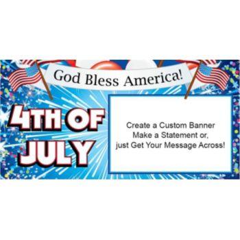 God Bless America 4th of July Custom Banner