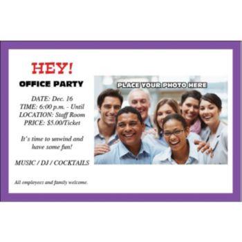 Purple Border Group Personalized Photo Invitations