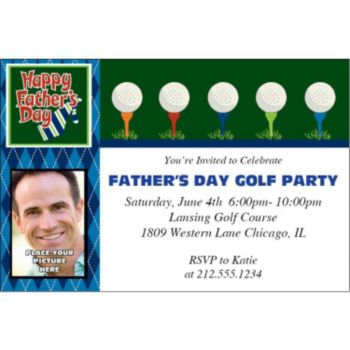 Fathers Day Golf Photo Personalized Invitations