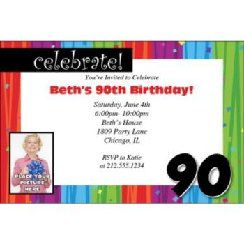 Rainbow Celebration 90 Personalized Photo Invitations