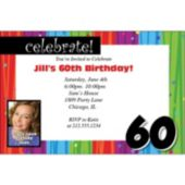 Rainbow Celebration 60 Personalized Photo Invitations