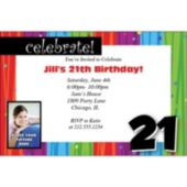 Rainbow Celebration 21  Personalized Photo Invitations