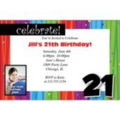 Rainbow Celebration 21  Personalized Photo Invitations