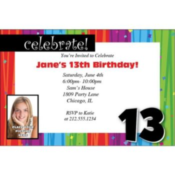 Rainbow Celebration 13 Personalized Photo Invitations