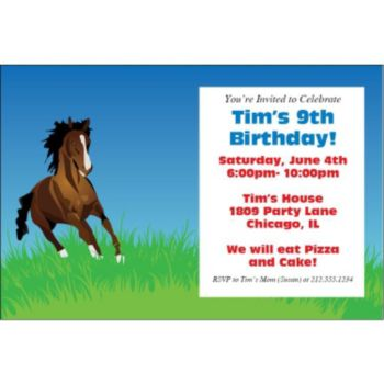 Horse Lover Personalized Invitations