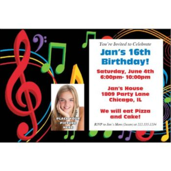 Musical Memories Photo Personalized Invitations