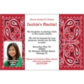 Red Bandana Photo Personalized Invitations