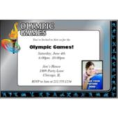 Olympic Blue Photo  Personalized Invitations