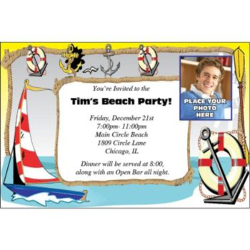 Nautical Theme Photo Personalized Invitations