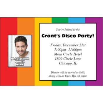Rainbow Theme Photo Personalized Invitations