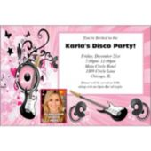 Pink Rocker Photo Personalized Invitations