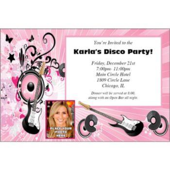 Pink Rocker Photo Personalized Invitations