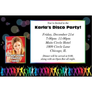 Neon Party Photo Personalized Invitations