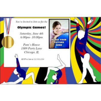 Gymnastics Gold Photo Personalized Invitations