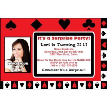 Card Night Photo Personalized Invitatoins