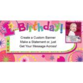 1St Birthday Girl Custom Photo Banner