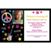 Neon Doodle Custom Photo Personalized Invitations
