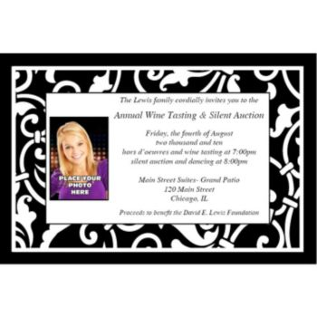 Black Scroll Custom Photo Personalized Invitations