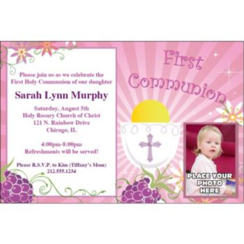 Girls First Communion Custom Photo Personalized Invitations