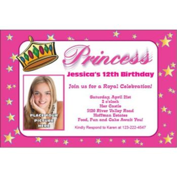 Princess Theme Custom Photo Personalized Invitations