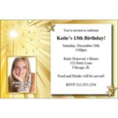 Gold Starburst Custom Photo Personalized Invitations