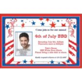 Patriotic Stars & Stripes Custom Photo Personalized Invitations