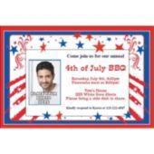 Patriotic Stars & Stripes Custom Photo Personalized Invitations
