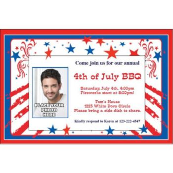 Patriotic Stars and Stripes Custom Photo Personalized Invitations