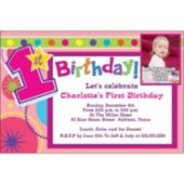 Girls 1st Birthday Custom Photo Personalized Invitations
