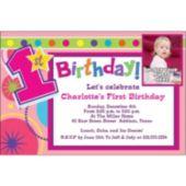 Girls 1st Birthday Custom Photo Personalized Invitations
