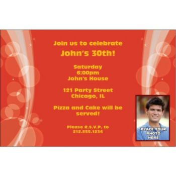 Sparkling Red Circles Custom Photo Personalized Invitations