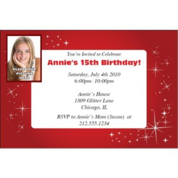 Sparkling Red Custom Photo Personalized Invitations