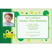 Green Froggy  Custom Photo Personalized Invitations