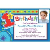 Boys 1St Birthday Custom Photo  Personalized Invitations