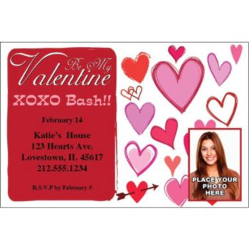 Valentine Hearts Custom Photo Personalized Invitations