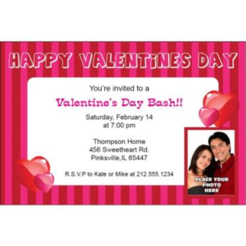 Valentines Day Stripe Custom Photo Personalized Invitations