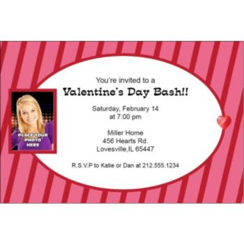 Valentines Stripes Custom Photo Personalized Invitations
