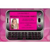 Send a Text in Pink Custom Photo Personalized Invitations