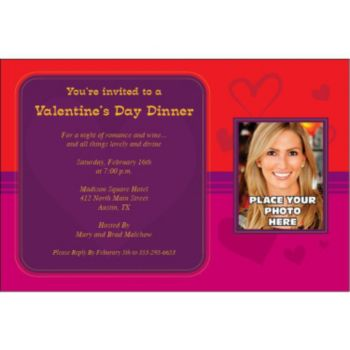 Sophisticated Hearts Custom Photo Personalized Invitations