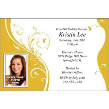 Yellow Sophisticate Custom Photo Personalized Invitations