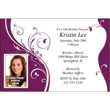 Wine Sophisticate Custom Photo Personalized Invitations