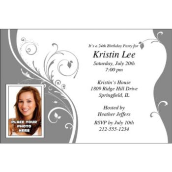 Silver Sophisticate Custom Photo Personalized Invitations