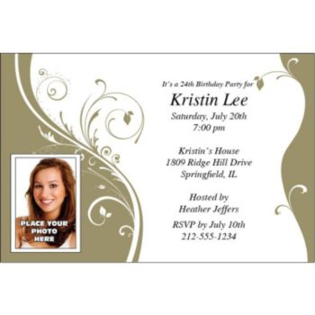 Gold Sophisticate Custom Photo Personalized Invitations