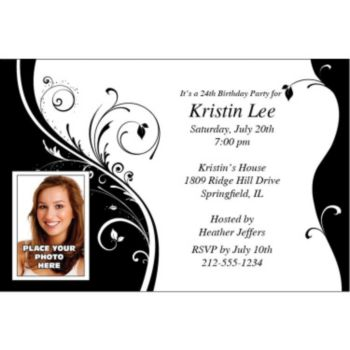 Black and White Sophisticated Photo Personalized Invitations