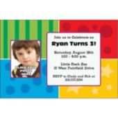 Colorful Corners Custom Photo Personalized Invitations