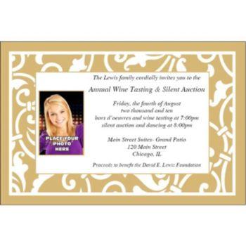 Gold Scroll Custom Photo Personalized Invitations