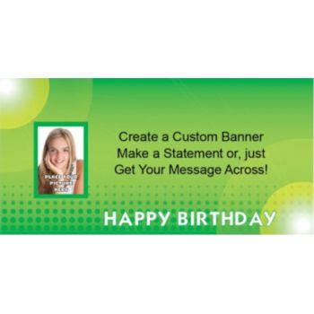 Green Birthday Dots Custom Photo Banner