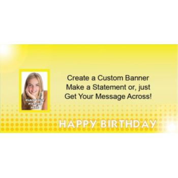 Yellow Birthday Custom Photo Banner