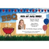 Patriotic BBQ Custom Photo Invitations