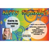 Birthday Circles Custom Photo Personalized Invitations